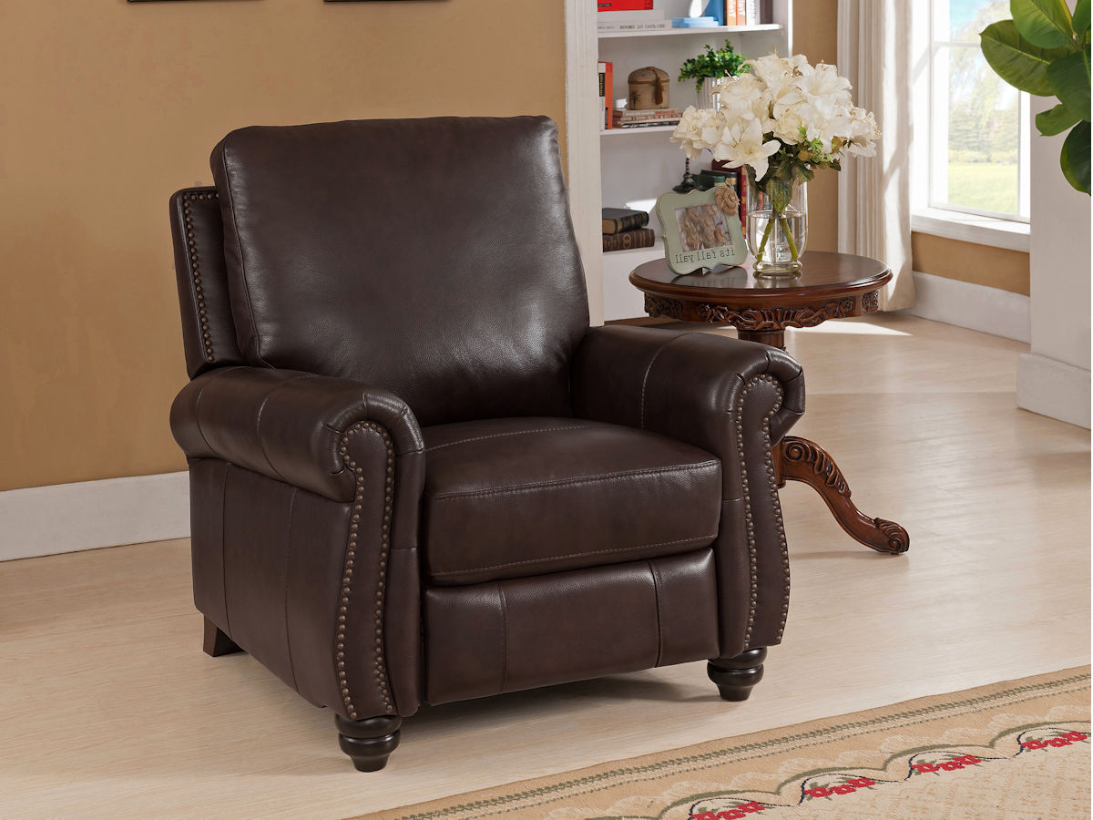 9758 R Push Back Recliner In Raleigh Brown Leather High